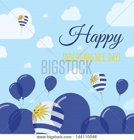 Uruguay Independence Day Flat Patriotic Design. Uruguayan Flag Balloons. Happy National Day Vector C