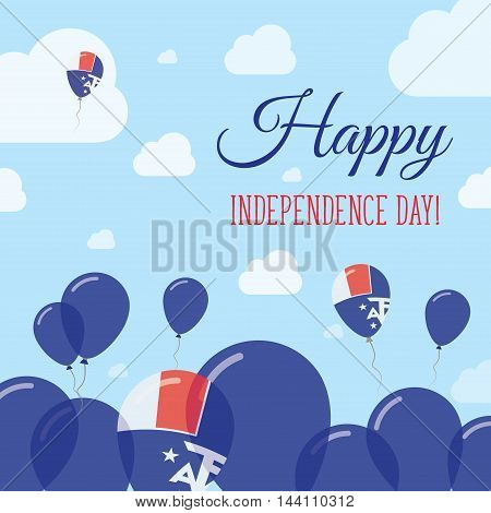 French Southern Territories Independence Day Flat Patriotic Design. French Flag Balloons. Happy Nati