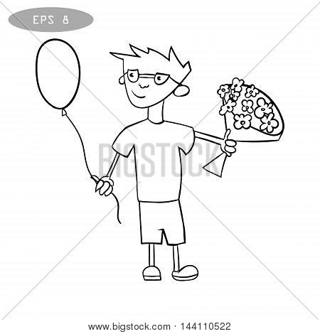 litte boy with balloon and bouquet of flowers vector illustration