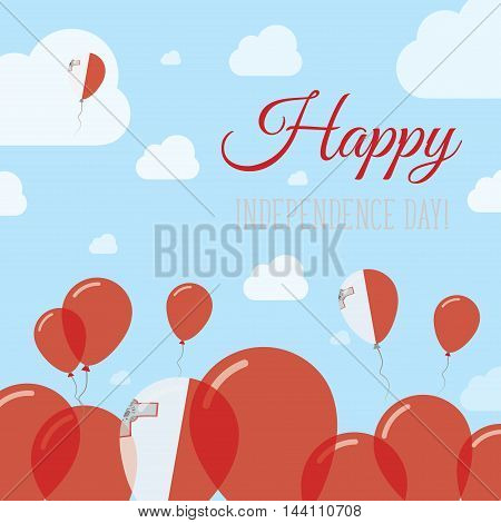 Malta Independence Day Flat Patriotic Design. Maltese Flag Balloons. Happy National Day Vector Card.