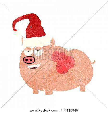 freehand retro cartoon christmas pig
