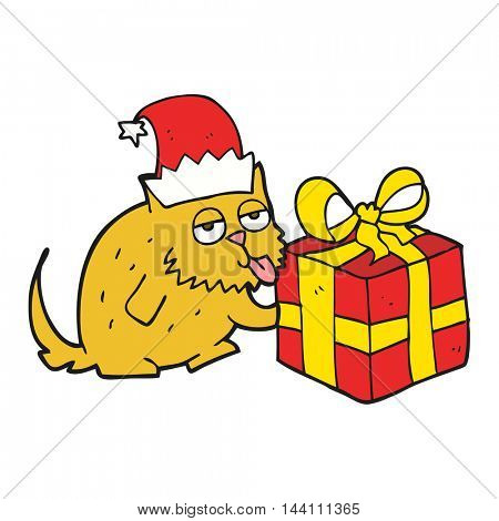 freehand drawn cartoon cat with present