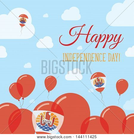 French Polynesia Independence Day Flat Patriotic Design. French Polynesian Flag Balloons. Happy Nati