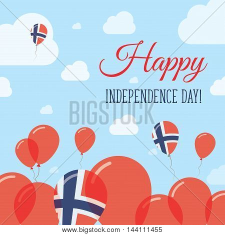 Norway Independence Day Flat Patriotic Design. Norwegian Flag Balloons. Happy National Day Vector Ca