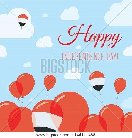 Yemen Independence Day Flat Patriotic Design. Yemeni Flag Balloons. Happy National Day Vector Card.