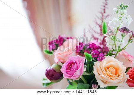 Wedding banquet, small restaurant floral, decor in red, informal style. Details close up