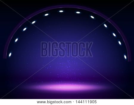Stage lights circle projectors in the dark. Vector