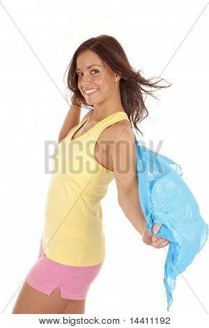 Woman Yellow Tank Blue Sarong