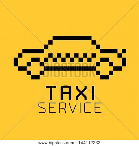 Taxi cab vector logo icon design. Street car hire taxicab black and yellow background badge app emblem. Silhouette of taxi made with pixels