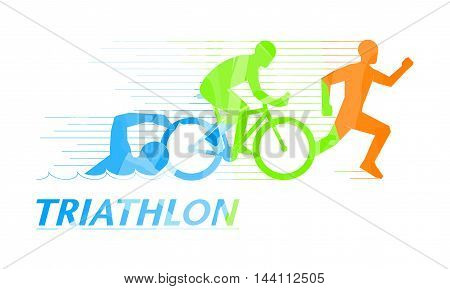 Cool vector symbol for triathlon. Stylish logo for triathlon on white background.