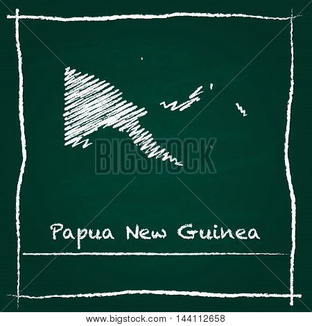 Papua New Guinea Outline Vector Map Hand Drawn With Chalk On A Green Blackboard. Chalkboard Scribble
