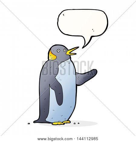 cartoon penguin waving with speech bubble