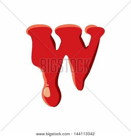 W letter isolated on white background. Red bloody W letter vector illustration