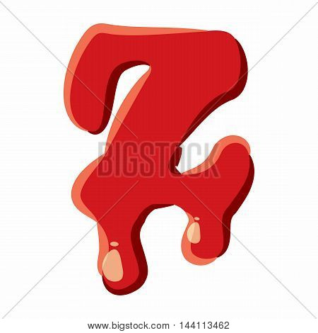 Z letter isolated on white background. Red bloody Z letter vector illustration