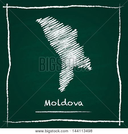 Moldova, Republic Of Outline Vector Map Hand Drawn With Chalk On A Green Blackboard. Chalkboard Scri