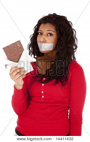 African American Woman Mouth Taped Chocolate