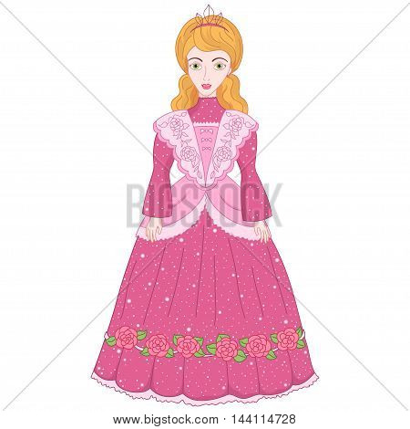 Beautiful gold-haired princess in ancient dress 19 century, cute lady noblewoman, vector illustration