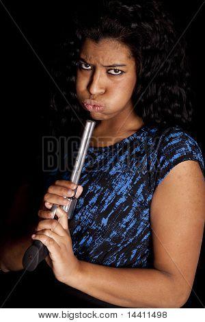Black Woman Blowing On Gun