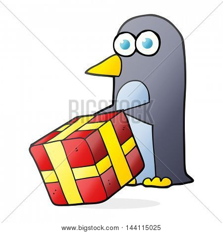 freehand drawn cartoon penguin with christmas present