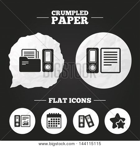 Crumpled paper speech bubble. Accounting report icons. Document storage in folders sign symbols. Paper button. Vector