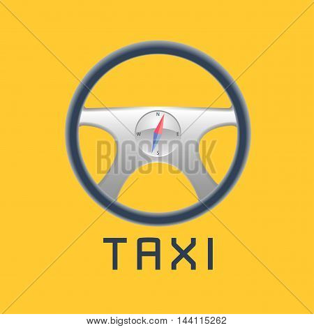 Taxi cab vector logo background. Car hire black and yellow background badge app emblem. Steering wheel compass taxi sign design elements