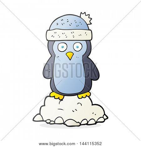 freehand drawn cartoon penguin wearing hat