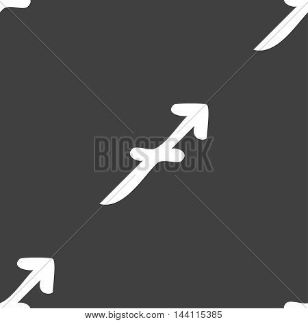 Sagittarius Sign. Seamless Pattern On A Gray Background. Vector