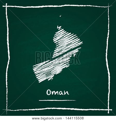 Oman Outline Vector Map Hand Drawn With Chalk On A Green Blackboard. Chalkboard Scribble In Childish