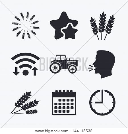 Agricultural icons. Wheat corn or Gluten free signs symbols. Tractor machinery. Wifi internet, favorite stars, calendar and clock. Talking head. Vector