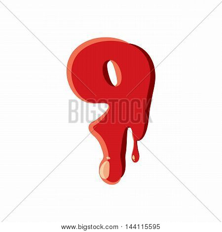 Nine number isolated on white background. Red bloody nine number vector illustration