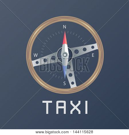 Taxi cab vector logo icon. Car hire black background badge taxi app emblem. Steering wheel with compass design element