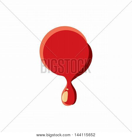 Dot punctuation mark isolated on white background. Red bloody dot vector illustration