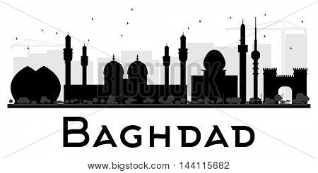 Baghdad City skyline black and white silhouette. Vector illustration. Simple flat concept for tourism presentation, banner, placard or web site. Business travel concept. Cityscape with landmarks
