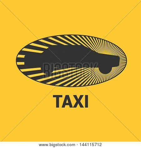 Taxi cab vector logo design. Car hire black and yellow background badge app emblem. Silhouette of car and sun taxi graphic icon