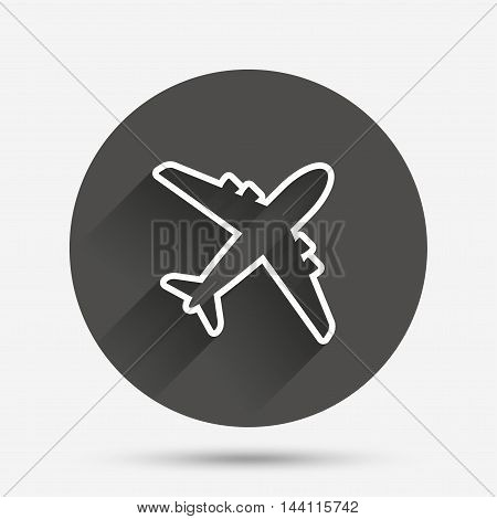 Airplane sign. Plane symbol. Travel icon. Delivery flight flat label. Circle flat button with shadow. Vector