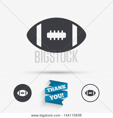 American football sign icon. Team sport game symbol. Flat icons. Buttons with icons. Thank you ribbon. Vector
