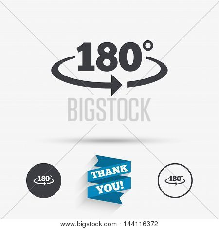 Angle 180 degrees sign icon. Geometry math symbol. Flat icons. Buttons with icons. Thank you ribbon. Vector