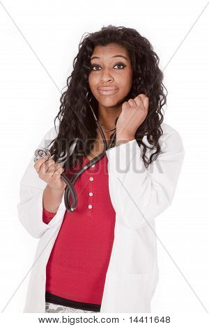 Woman Doctor With Stethoscope On