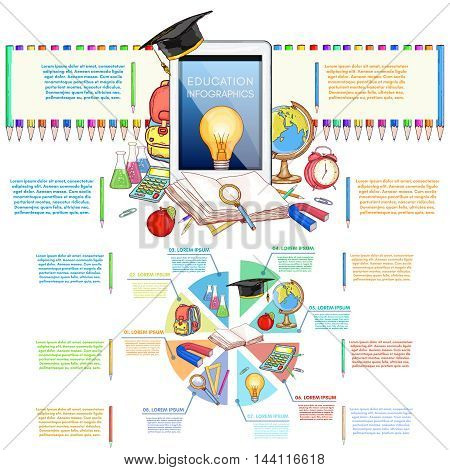 Education infographics back to school elements vector illustration of education