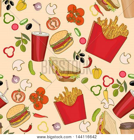 Fast food seamless pattern fast food seamless background vector