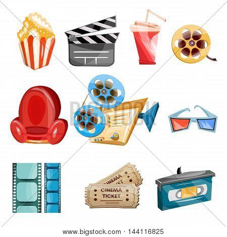 Cinema movie icons cartoon hand drawn collection cinema vector