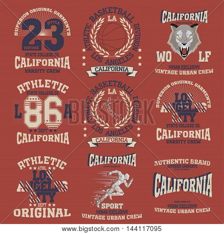 College fashion design print for t-shirt Los Angeles set. California Sport Typography, vintage Vector