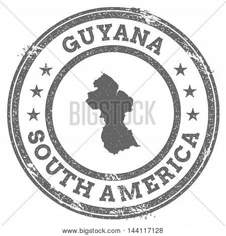 Guyana Grunge Rubber Stamp Map And Text. Round Textured Country Stamp With Map Outline. Vector Illus