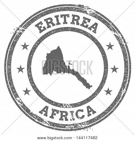 Eritrea Grunge Rubber Stamp Map And Text. Round Textured Country Stamp With Map Outline. Vector Illu