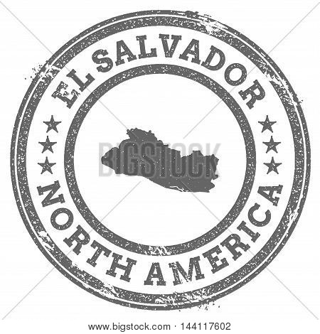 El Salvador Grunge Rubber Stamp Map And Text. Round Textured Country Stamp With Map Outline. Vector