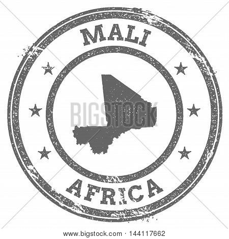 Mali Grunge Rubber Stamp Map And Text. Round Textured Country Stamp With Map Outline. Vector Illustr