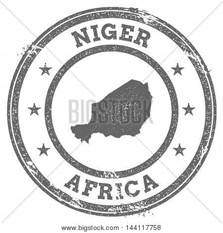 Niger Grunge Rubber Stamp Map And Text. Round Textured Country Stamp With Map Outline. Vector Illust