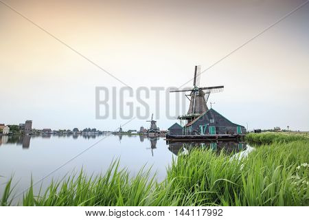 Old, Wooden Windmills In The Netherlands