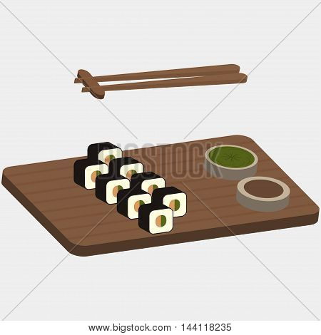 Sushi and rolls on the wooden boards - vector