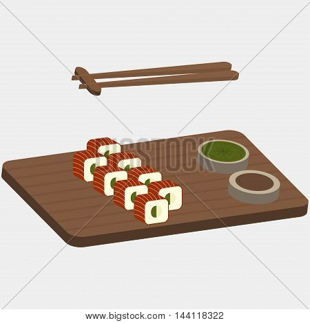 Sushi and rolls with red fish on the wooden boards - vector